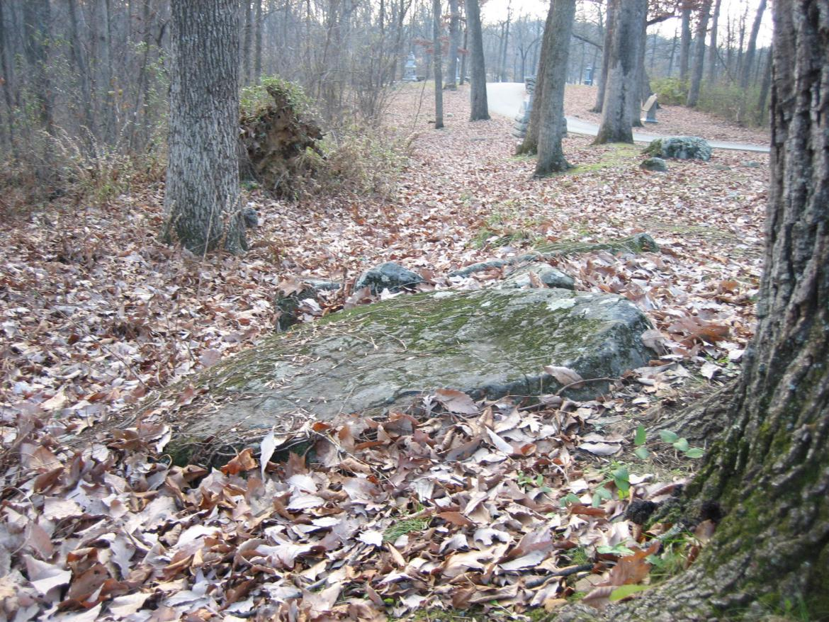 Large rock on which one of Brady's assistants was reclining in 1863