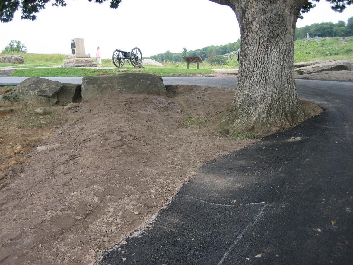 Close-up of the earthwork