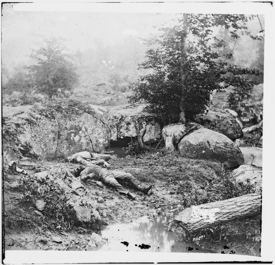 'Dead Confederate soldiers in the 'slaughter pen' at the foot of Little Round Top'