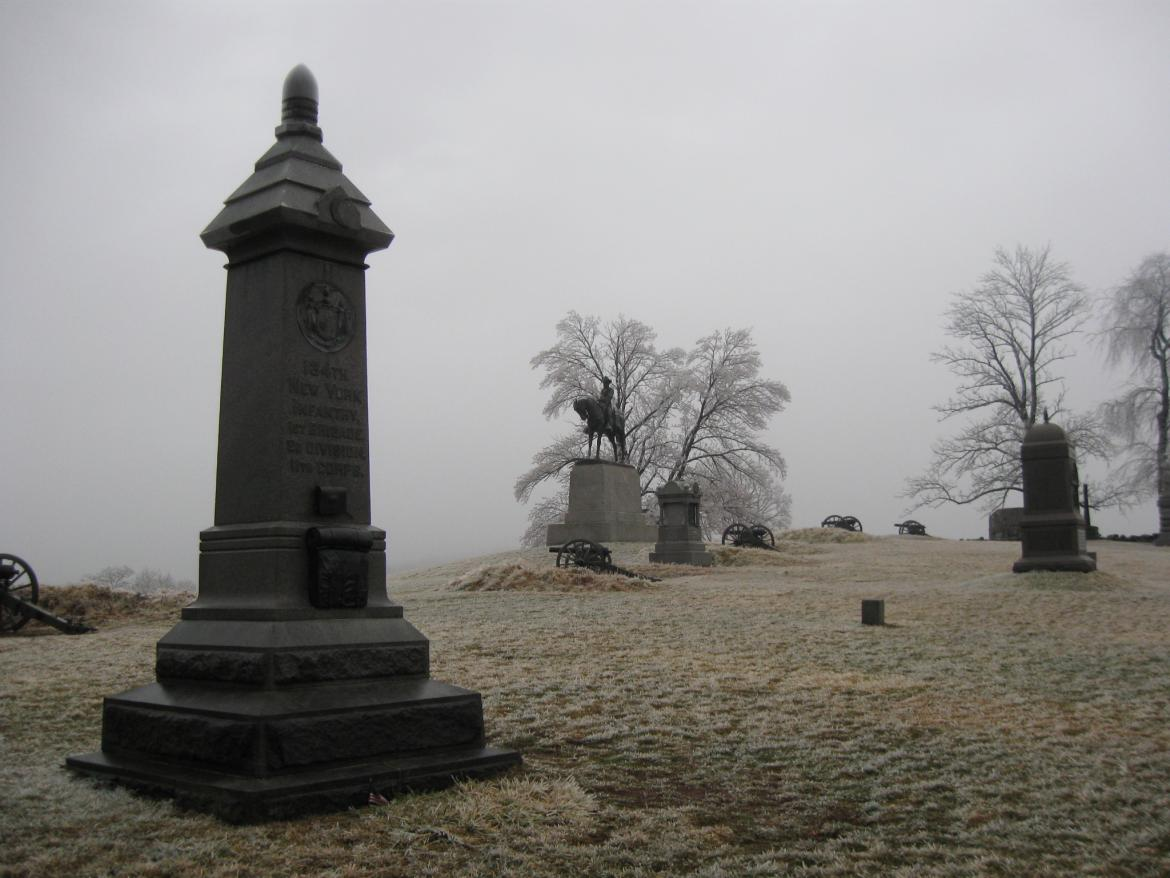 An Icy and Foggy East Cemetery Hill | Gettysburg Daily