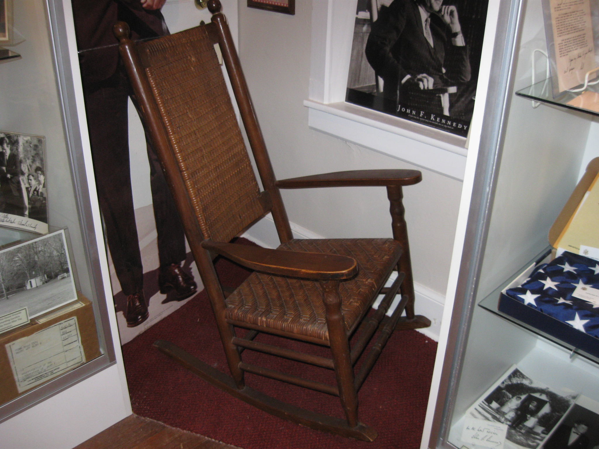 Wonderful image of One of Senator John F. Kennedy's rocking chairs. This view was taken  with #603E2E color and 2048x1536 pixels