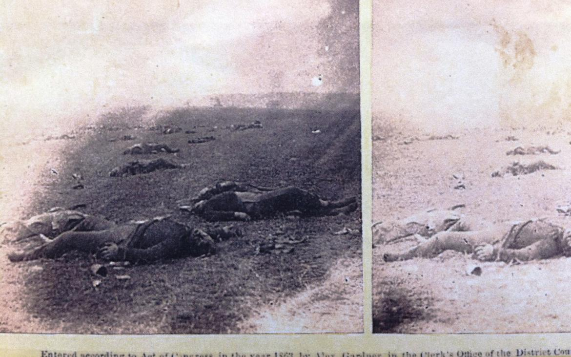 Part of the steroview titled 'Evidence of How Severe The Contest Had Been On The Right at The Battle of Gettysburg'