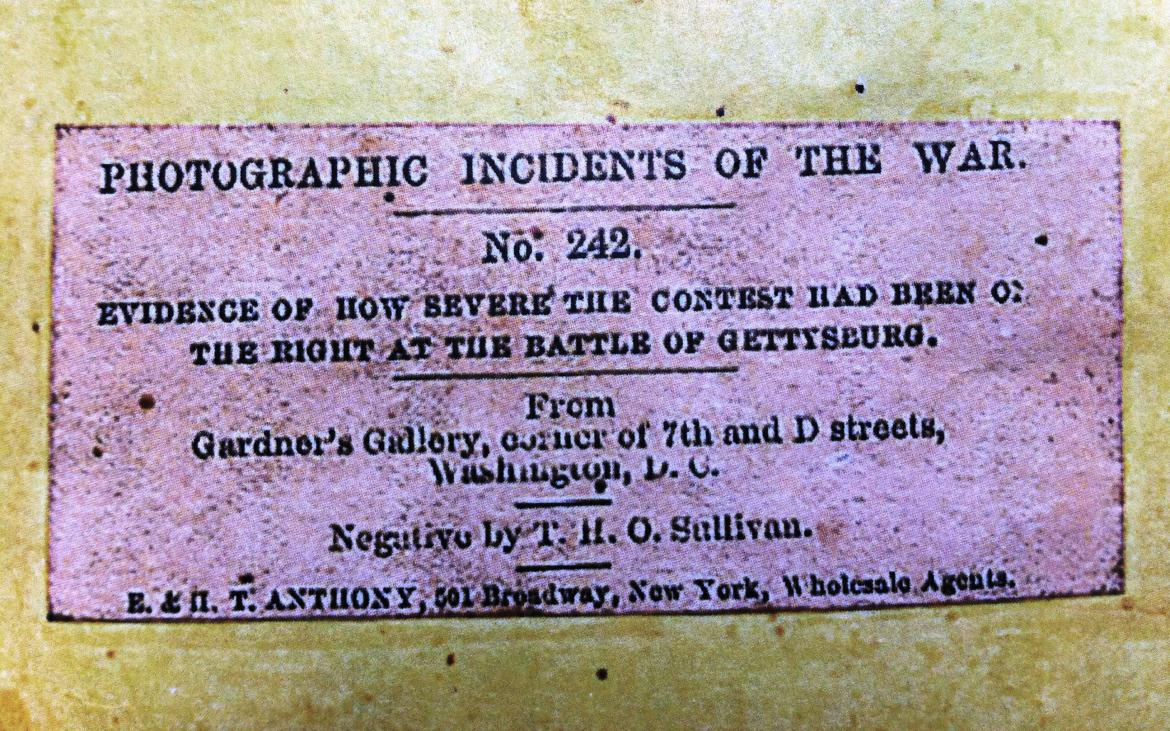 Back of 'Evidence of How Severe The Contest Had Been On The Right at The Battle of Gettysburg' stereo card