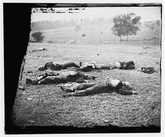 Glass plate 'Gettysburg, Pa. Bodies of Federal Soldiers, Killed on July 1, Near the McPherson Woods'