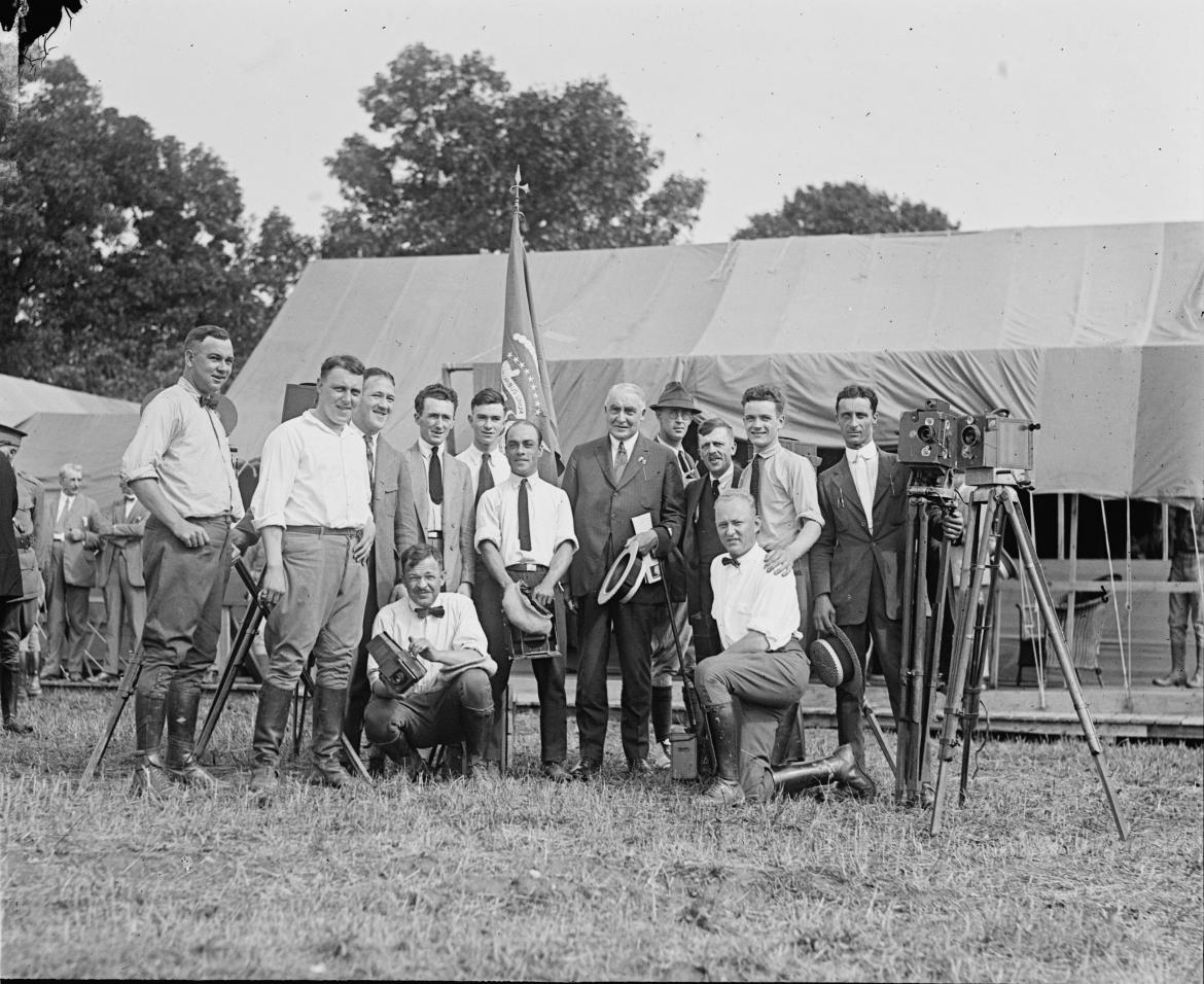 President Harding with the press