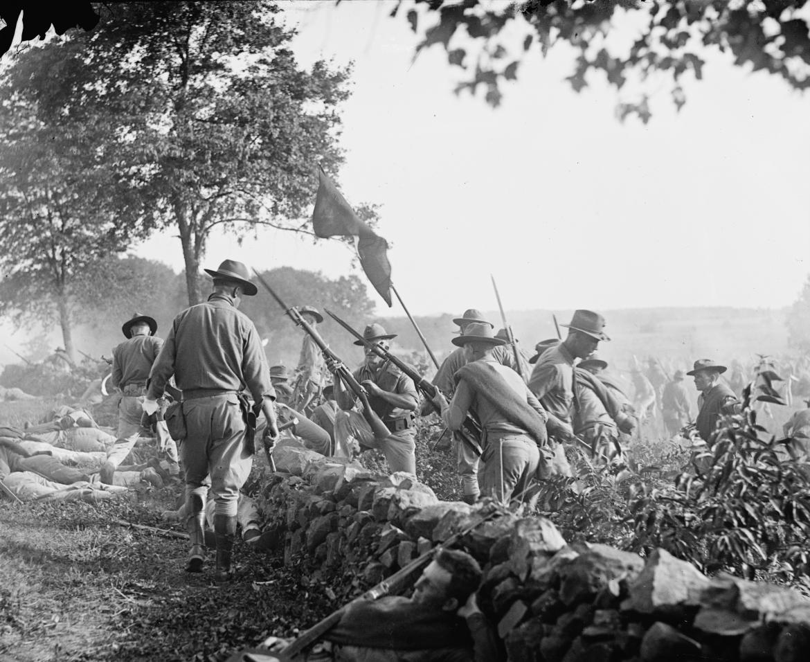 Marines retreating in the re-enactment