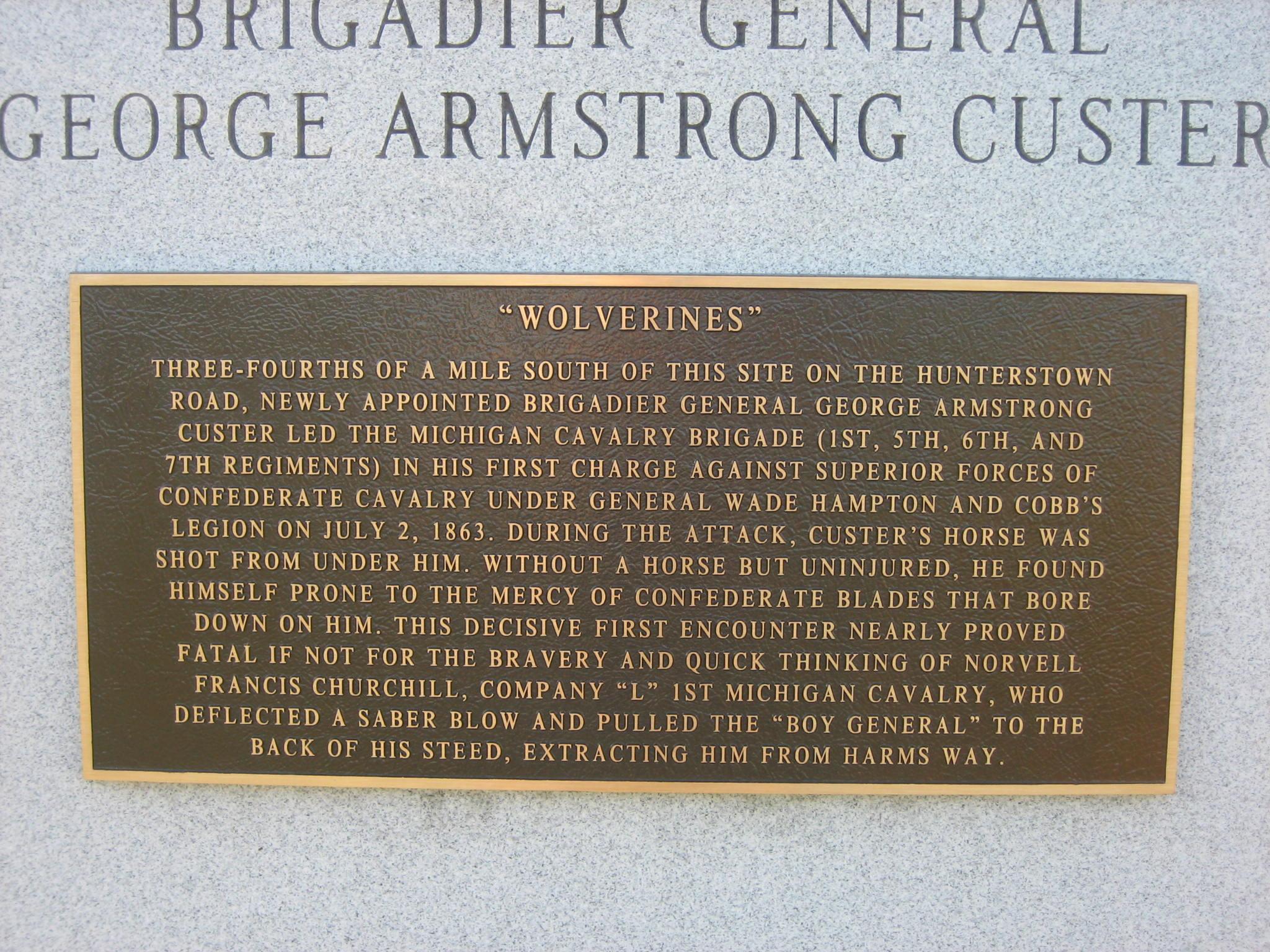 custer marker in hunterstown