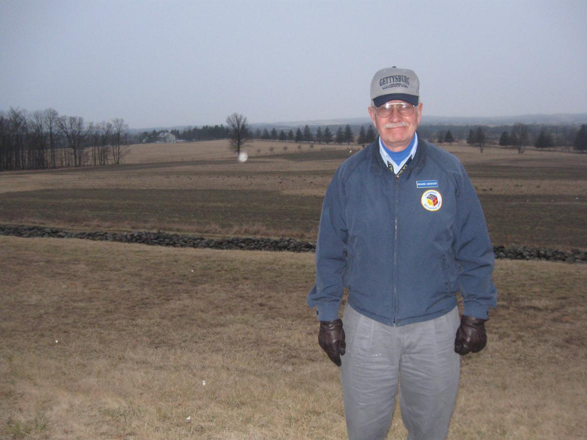 Richard Goedkoop with Eisenhower Farm in background