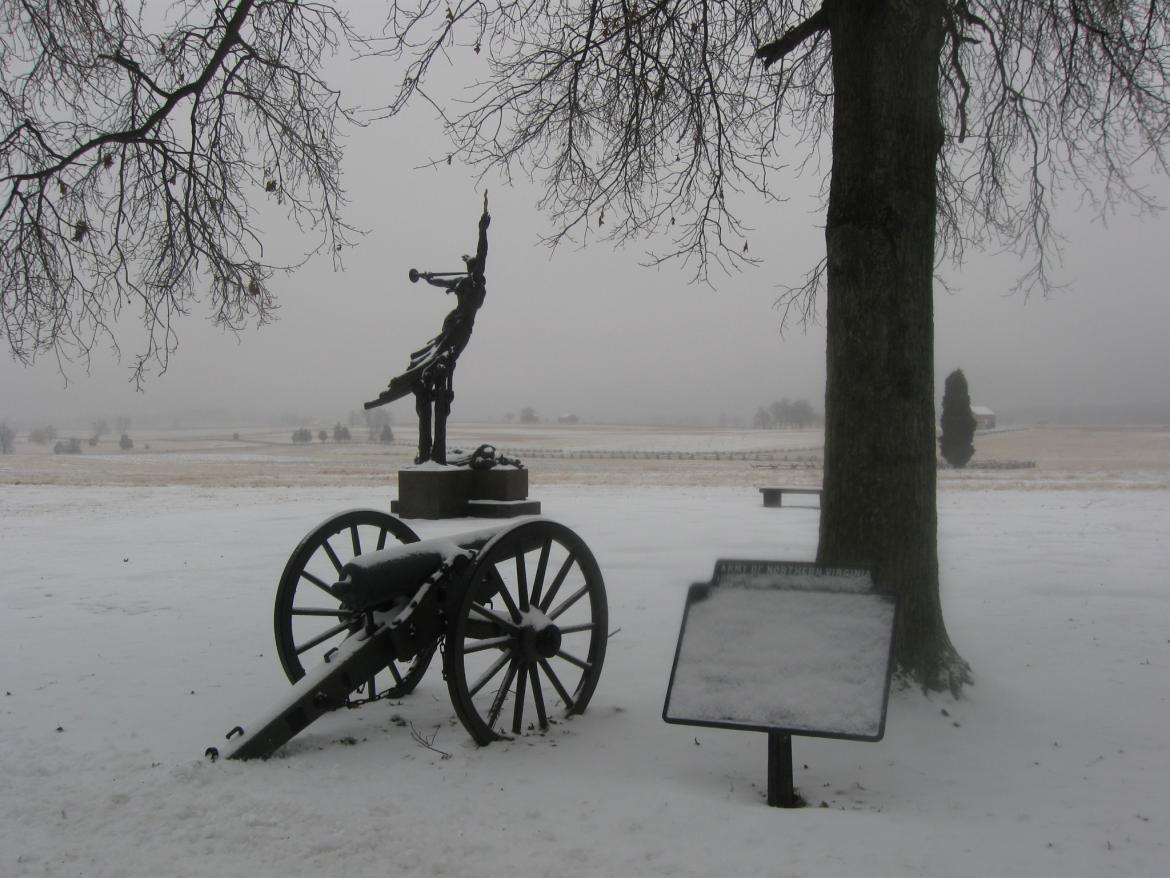 Louisiana State Monument in the snow and ice