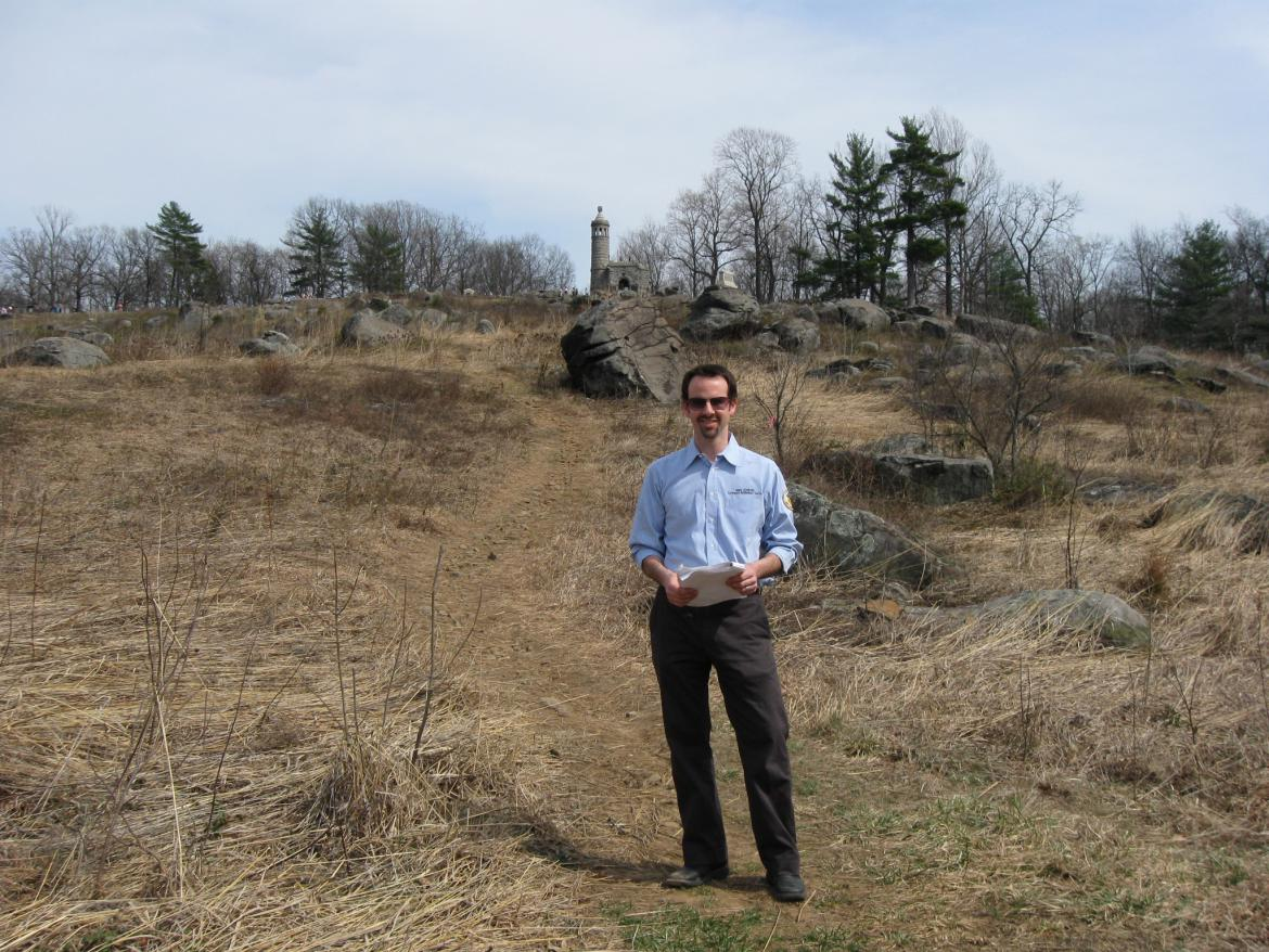 Garry Adelman on the side of Little Round Top