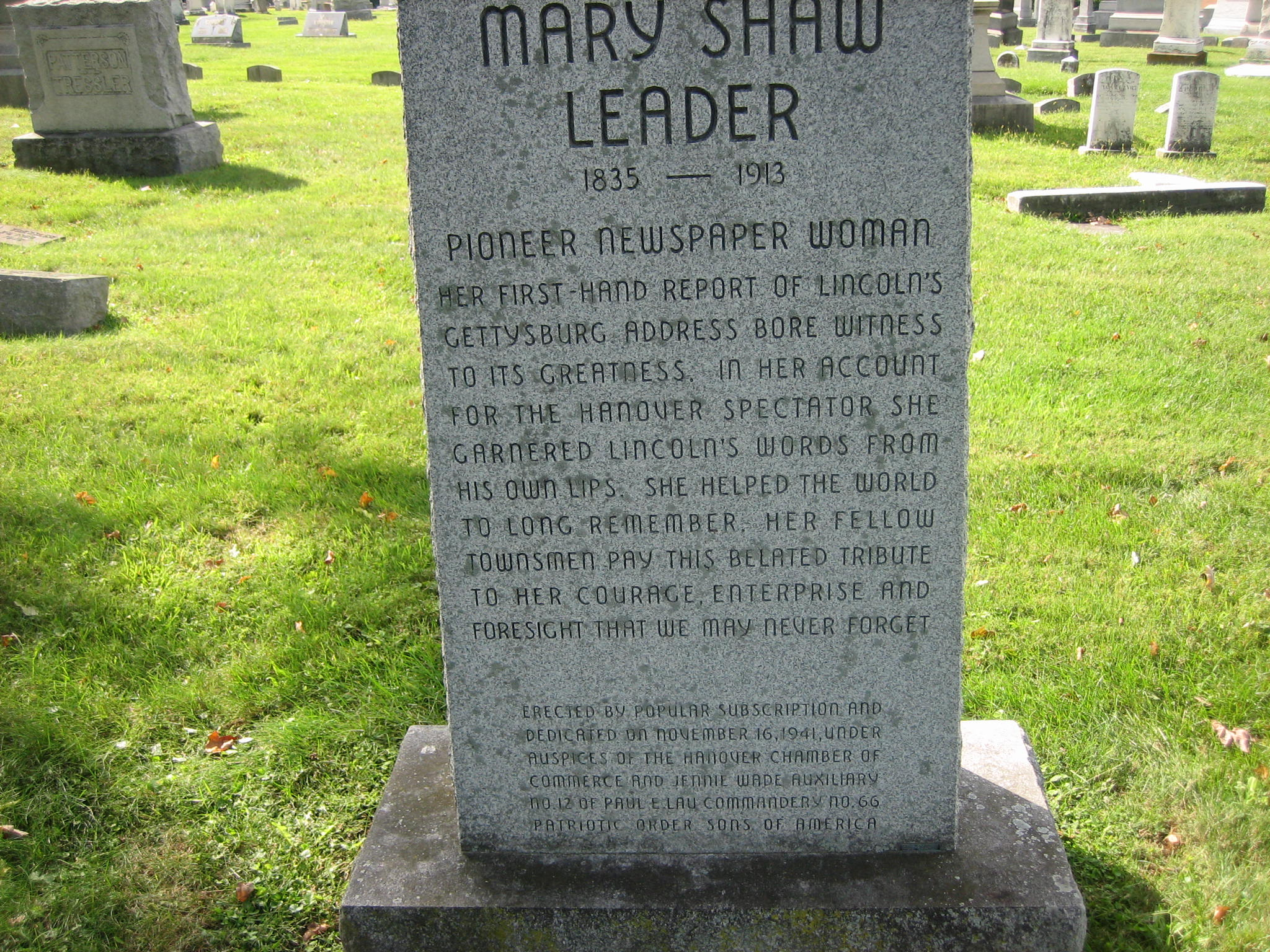 Mary Shaw Leader Female Civil War Newspaper Reporter
