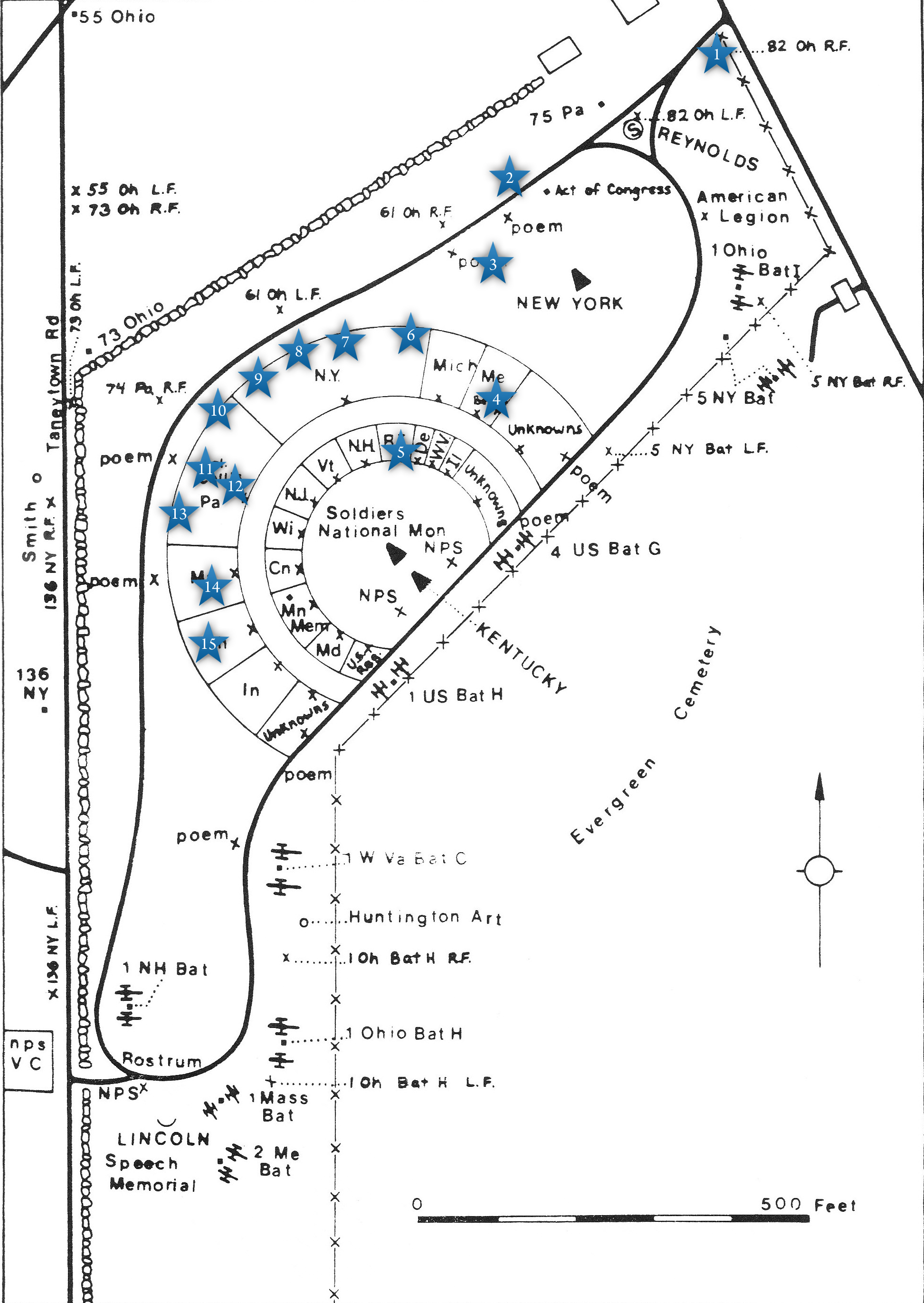 This Map Shows Us The Locations Taken Of Videos For The Gettysburg National Cemetery Series Video 1 Was At The Baltimore Street Entrance To The National