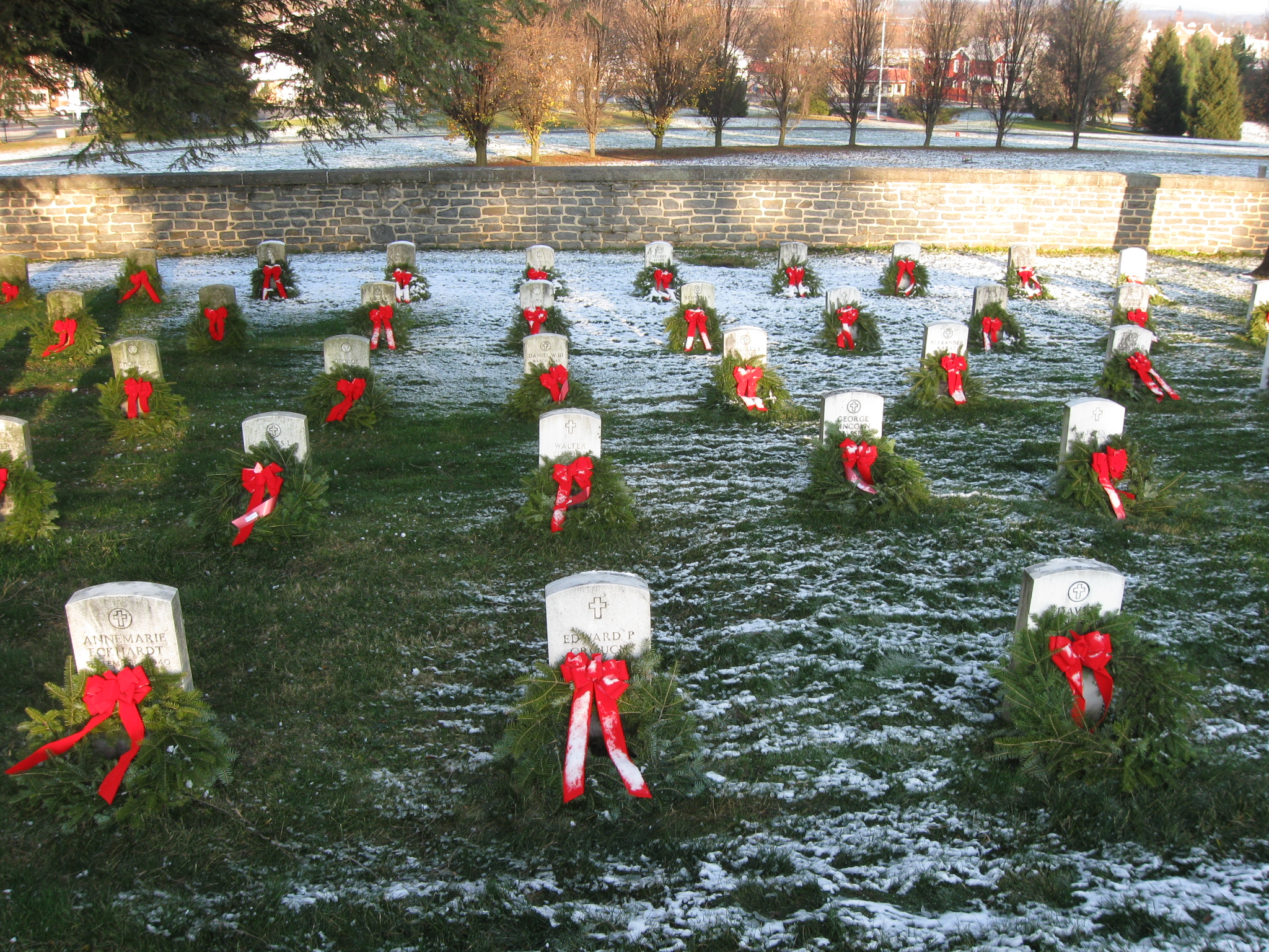 1 each on christmas eve 2006 and decorated most of the graves in erics section at quantico that christmas day this view was taken facing north at