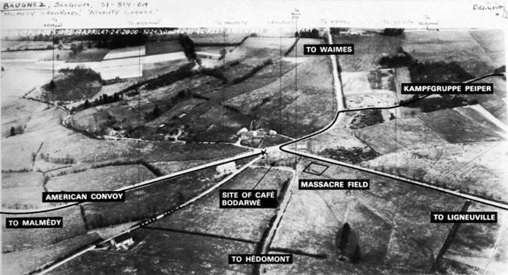 Aerial photo of the Malmedy Massacre site
