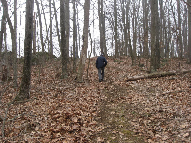 Ted Gajewski climbs the ridge to Lost Avenue