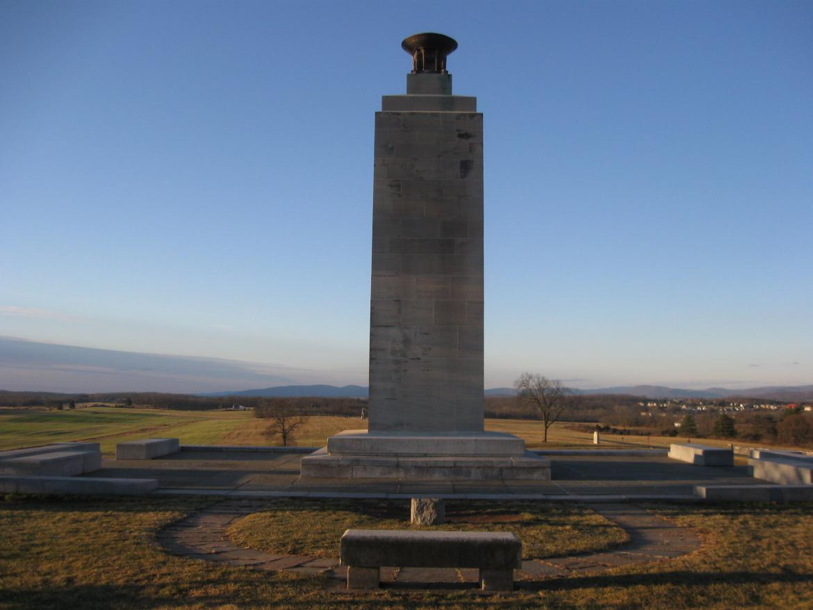 North view of the Eternal Peace Light Memorial prior to vandalism