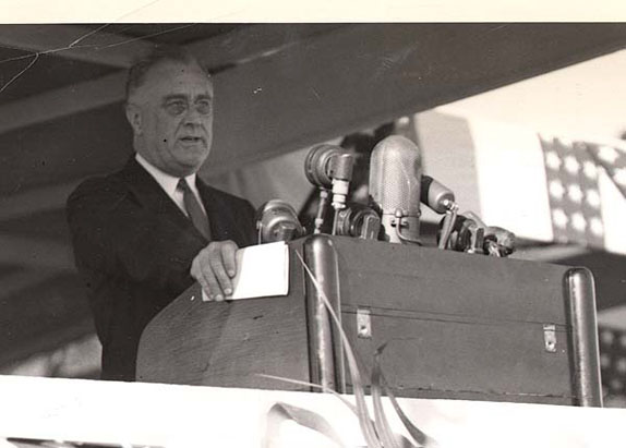 Close-up of President Roosevelt's Address