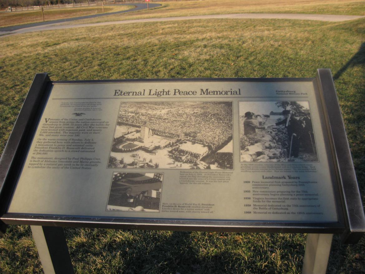 Eternal Light Peace memorial wayside sign