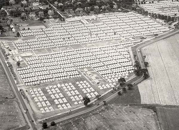 Aerial view of the 75th Anniversary encampment