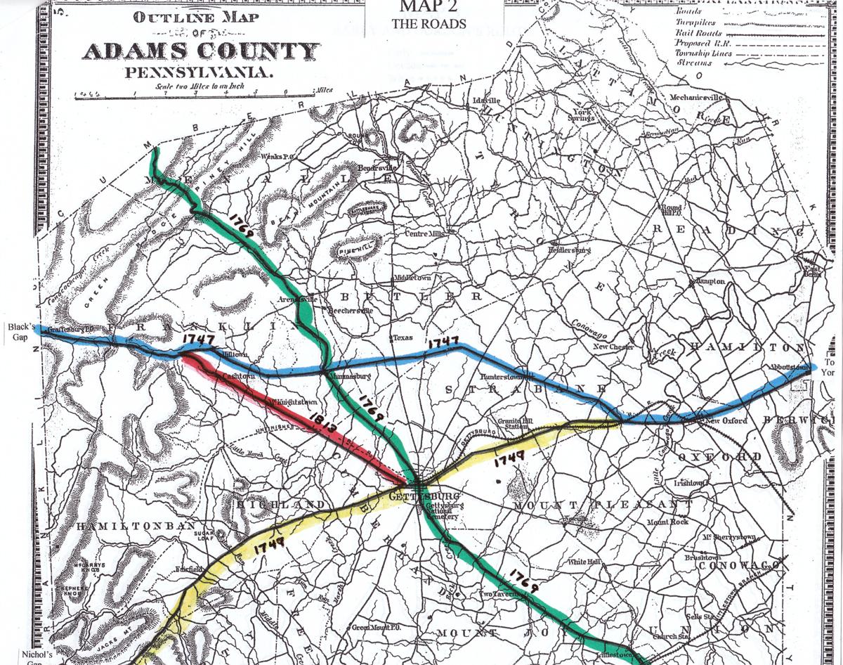 Adams County Civil War Taverns Part Gettysburg LBG John - Gettysburg pa in us map