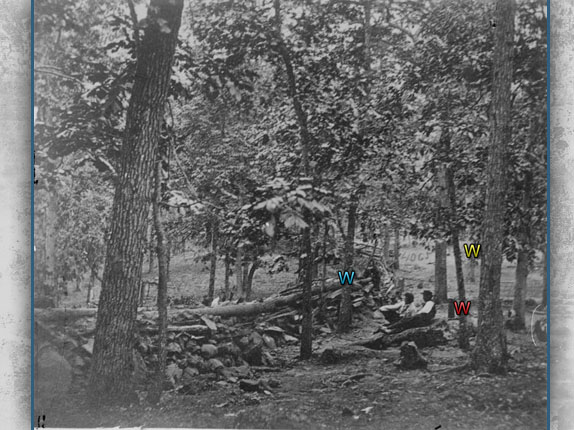 Mathew Brady photo of Union fortifications on Culp's Hill