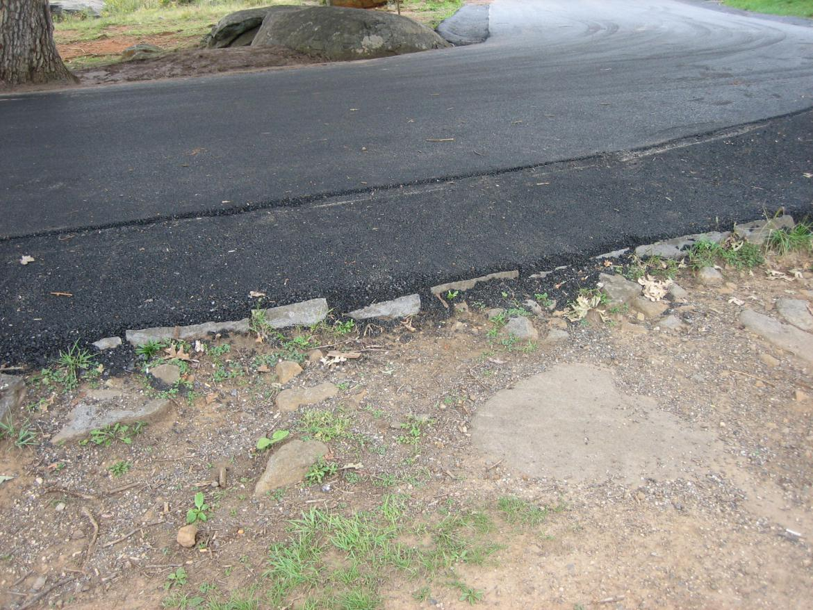 Asphalt over the stonework
