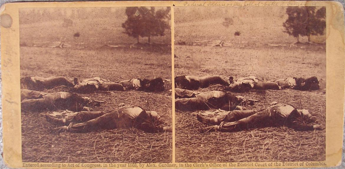 Stereoview titled 'Federal Soldiers As They Fell, At Battle of Gettysburg'