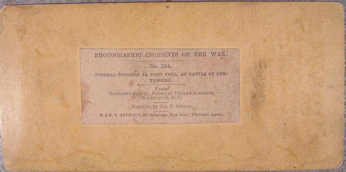 Back of 'Federal Soldiers As They Fell, At Battle of Gettysburg' stereo card