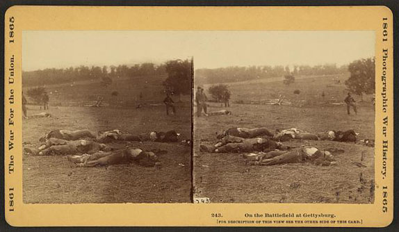 Stereoview titled 'On the Battlefield at Gettysburg'