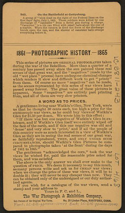 Back of 'On the Battlefield at Gettysburg' stereo card