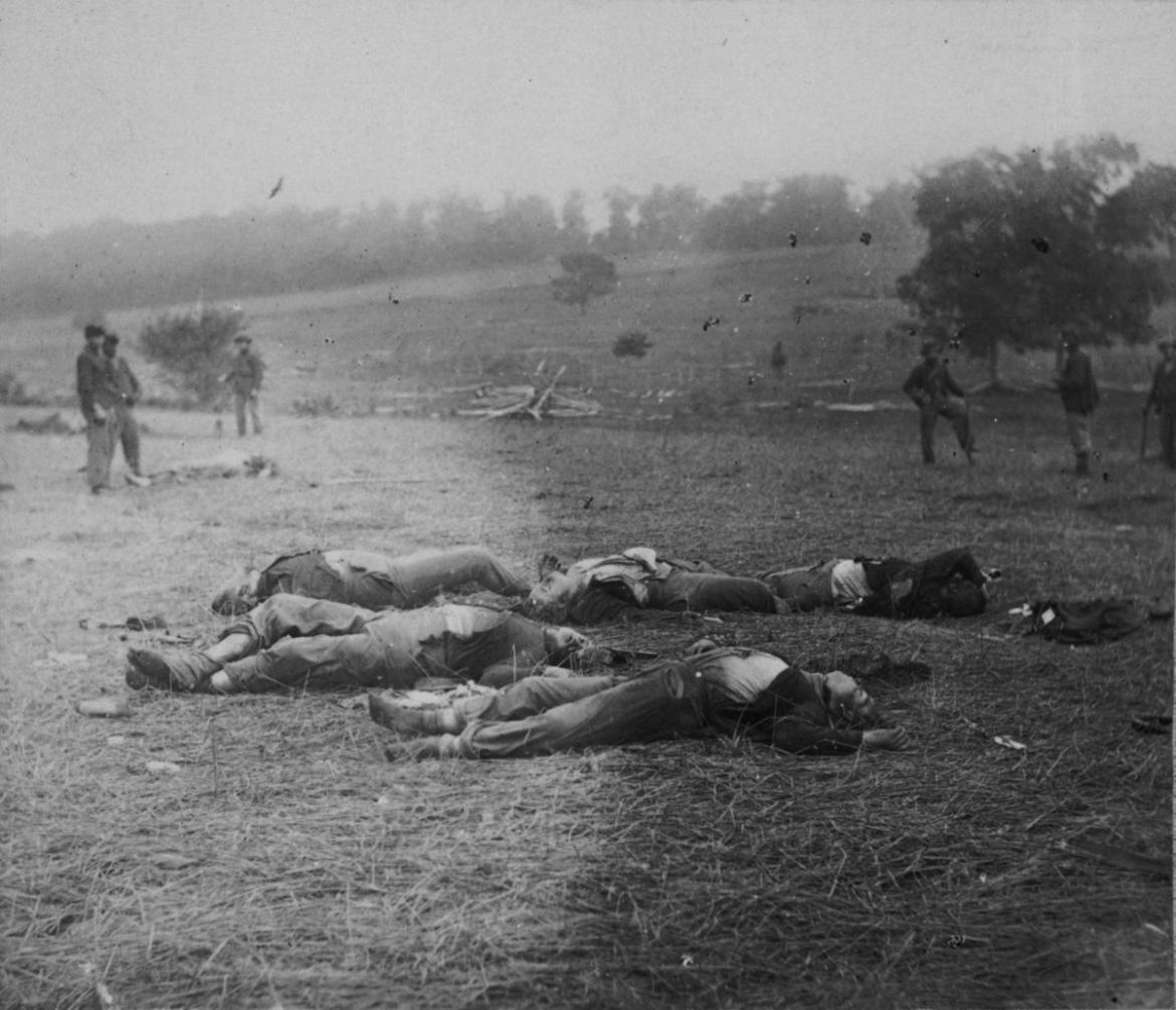 Glass plate of 'Federal Dead on the Field of Battle of First day, Gettysburg, Pennsylvania.'