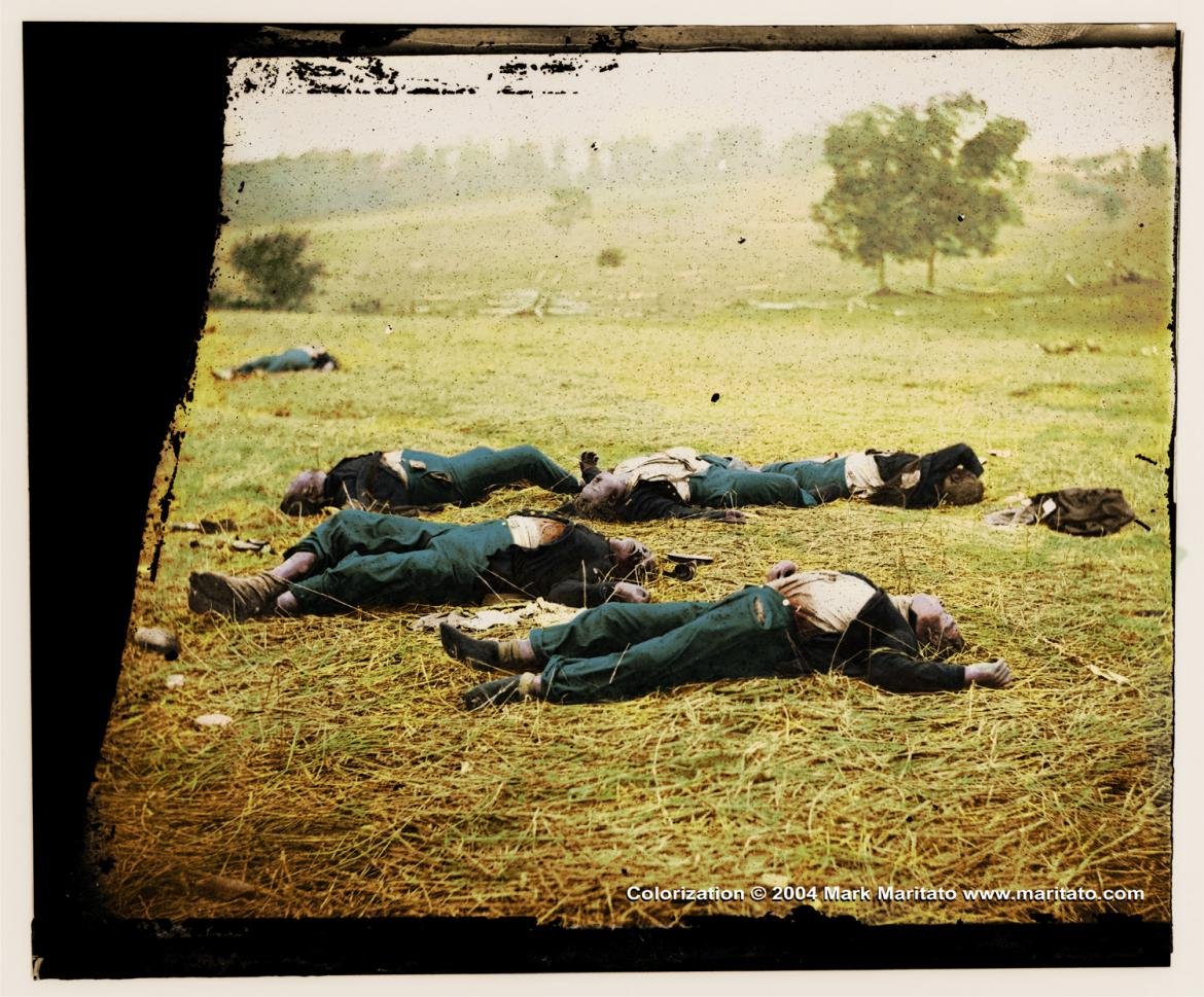 Colorized 'Gettysburg, Pa. Bodies of Federal Soldiers, Killed on July 1, Near the McPherson Woods'