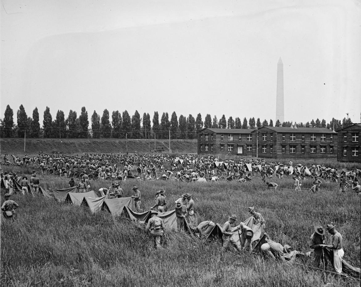 Marines packing for the march to Gettysburg