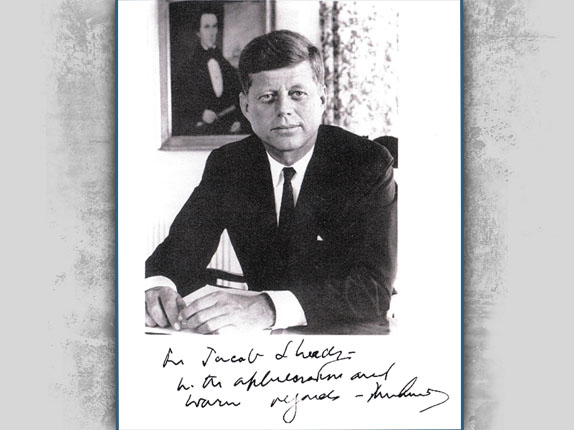 President Kennedy's autographed picture to Colonel Sheads
