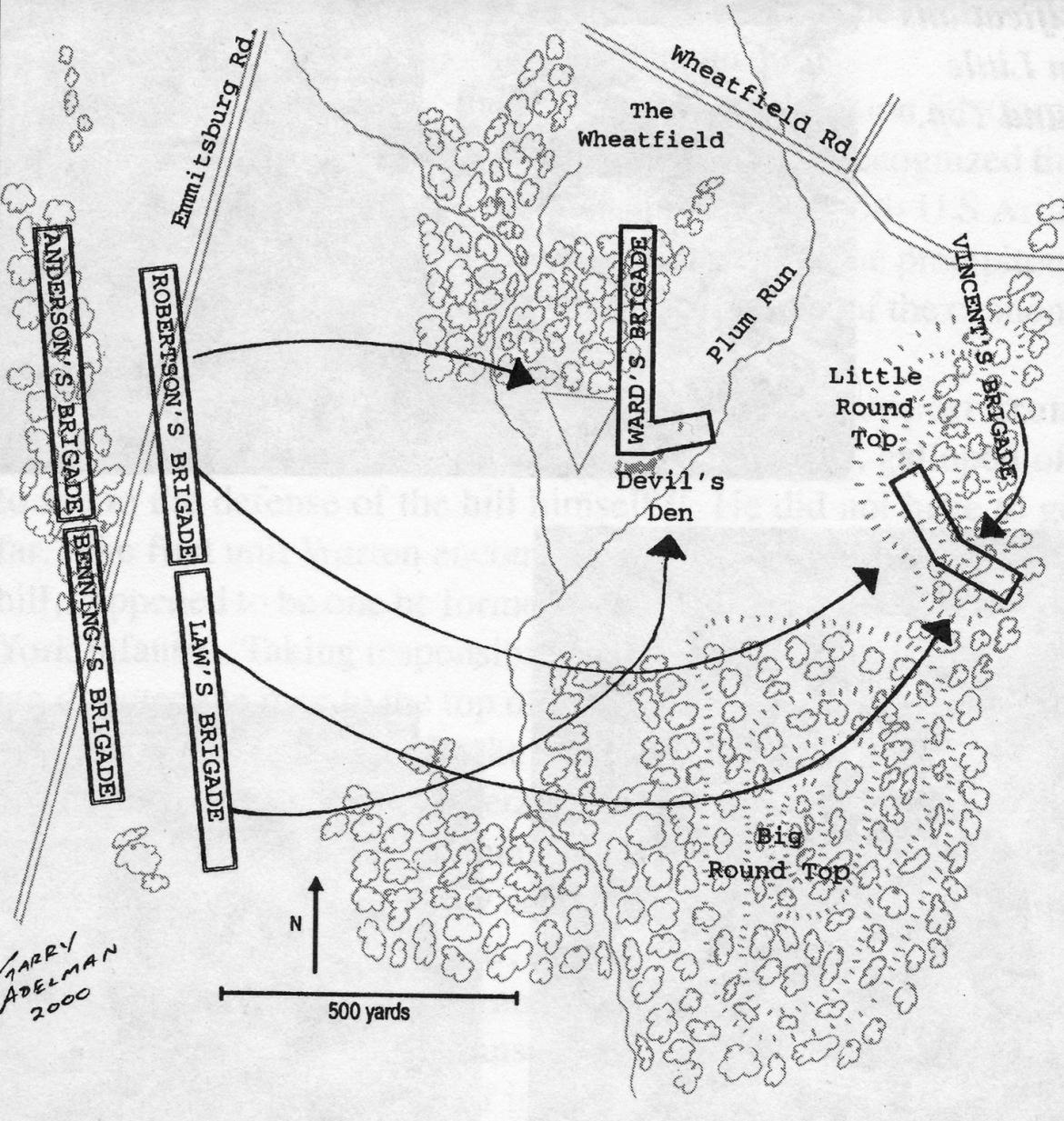 Map showing the approach of the Confederates
