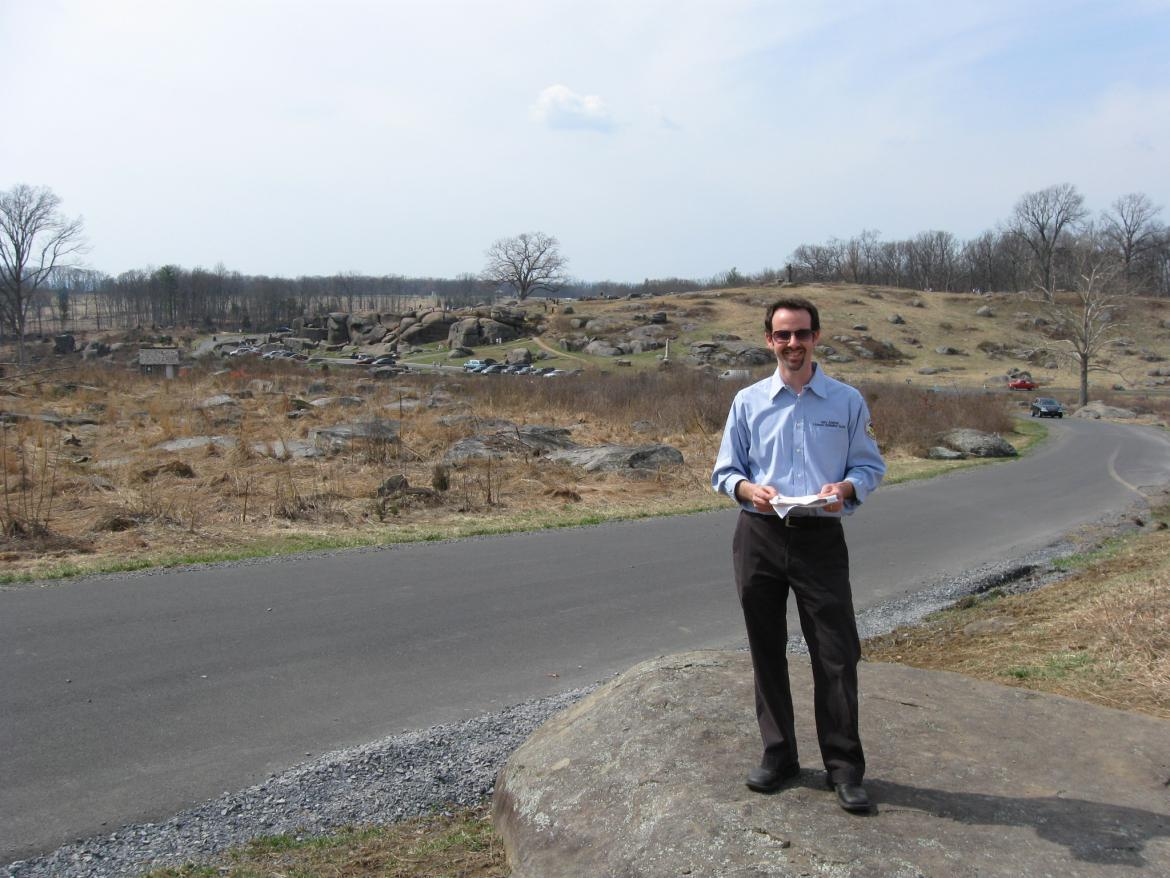 Garry Adelman at the foot of Little Round Top