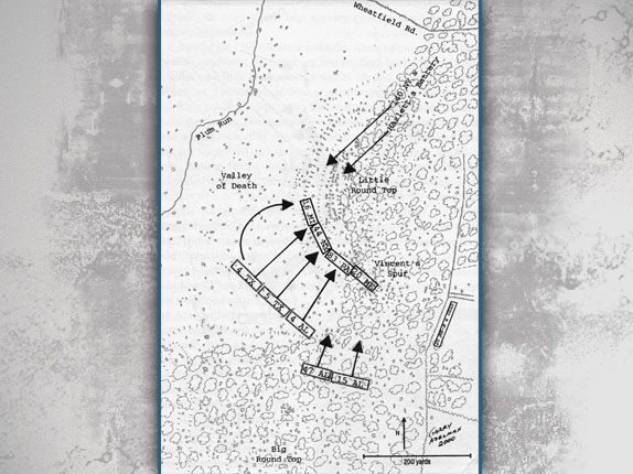 Map showing the Confederate attack