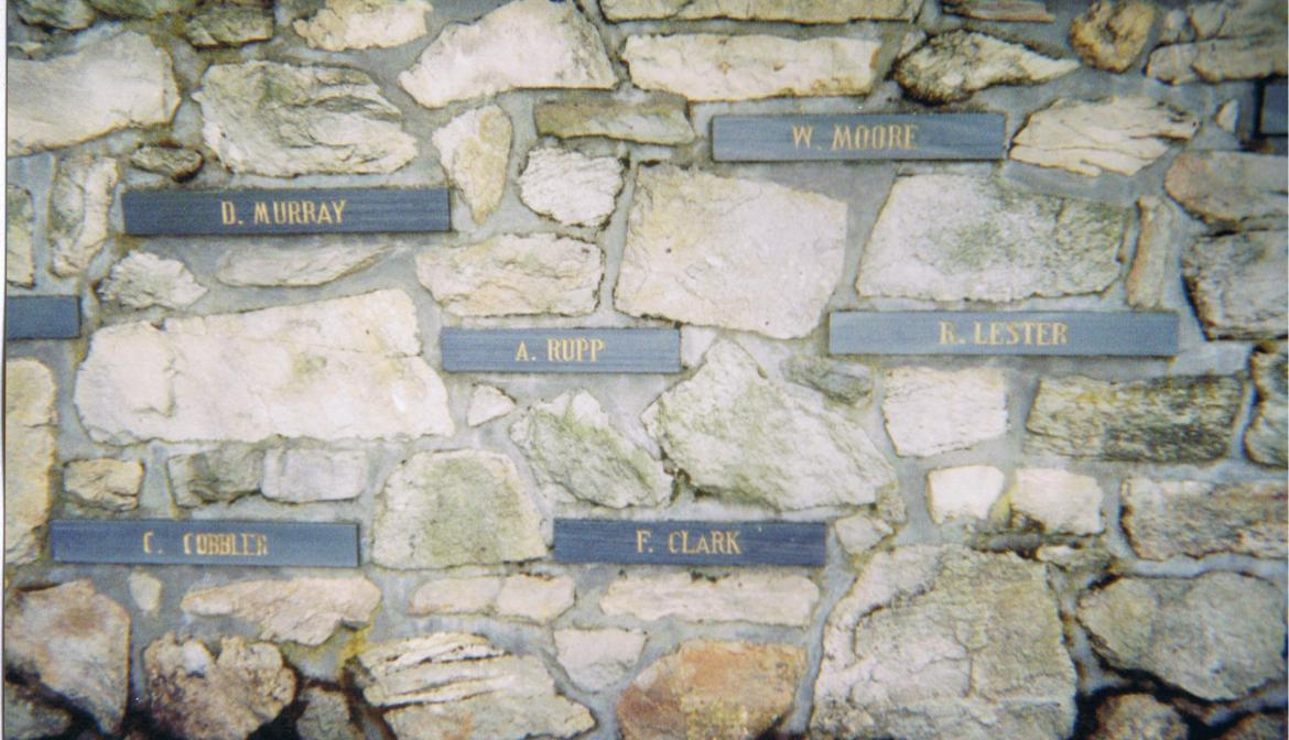 Close-up of the memorial wall