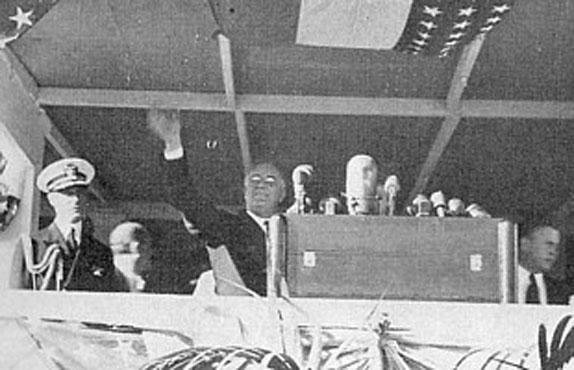 President Roosevelt waving