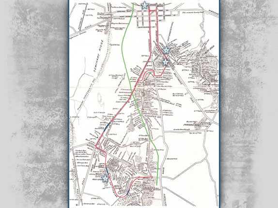 Map of the route of the electric trolley