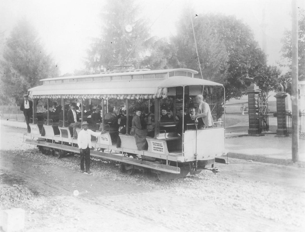 Visitors in the trolley